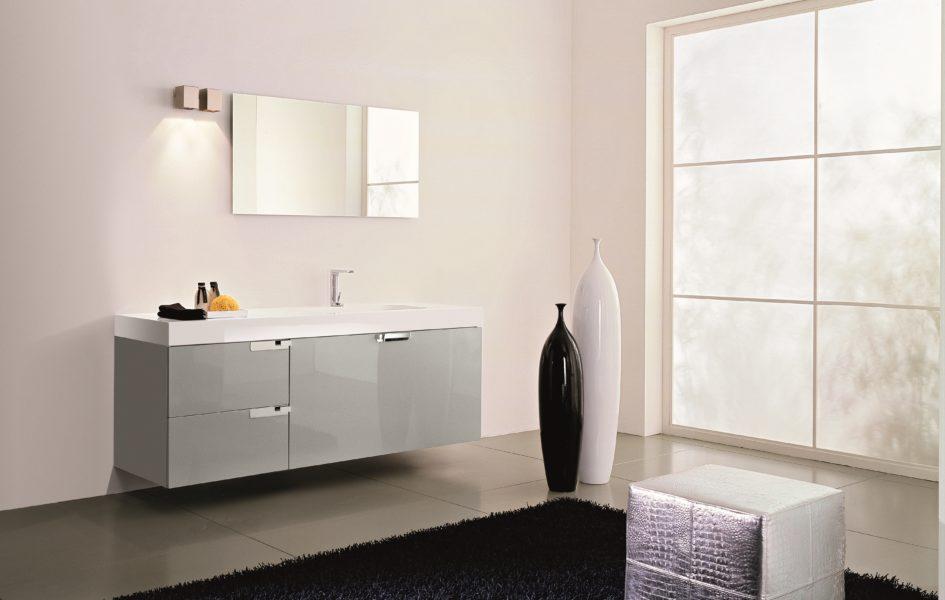 Mobile da bagno sospeso da 180 cm grigio nube laccato lucido | Progetto Bagno