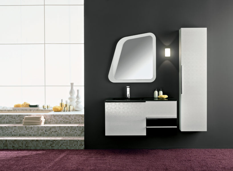 Mobili da bagno design geometrico bianco e argento | Progetto Bagno