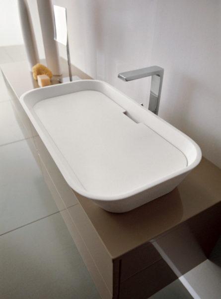 Lavabo da appoggio per bagno design minimal 69 cm | Progetto Bagno