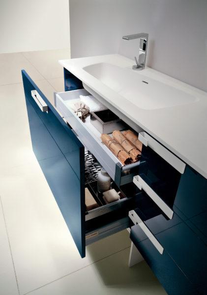 Base lavabo per bagno altezza 60 cm con cassetto e cestone | Progetto Bagno