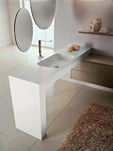 Mobile sospeso da bagno 180cm con lavabo in solid surface | Progetto Bagno