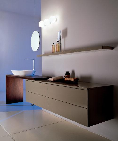 Mobile sospeso da bagno design moderno con top in legno 160 cm | Progetto Bagno