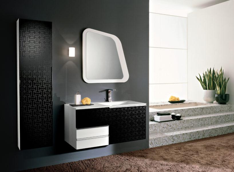 Mobili da bagno design moderno bianco e serigrafia argento | Progetto Bagno