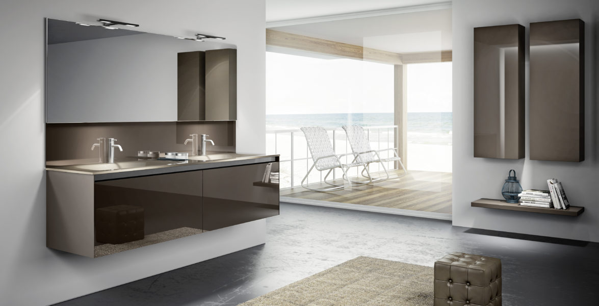 Arredo bagno design moderno in cristallo colo tortora | Progetto Bagno
