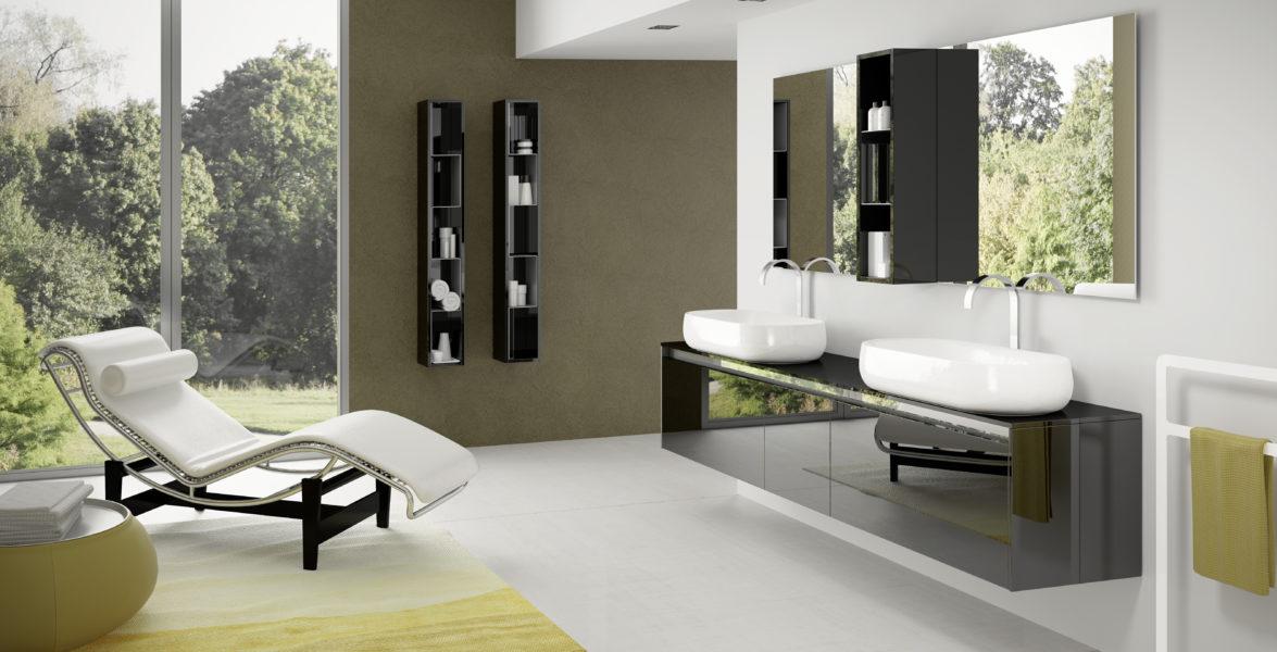 Soluzione bagno di design moderno con doppio lavabo, con top in AZUL da 202 cm | Progetto Bagno
