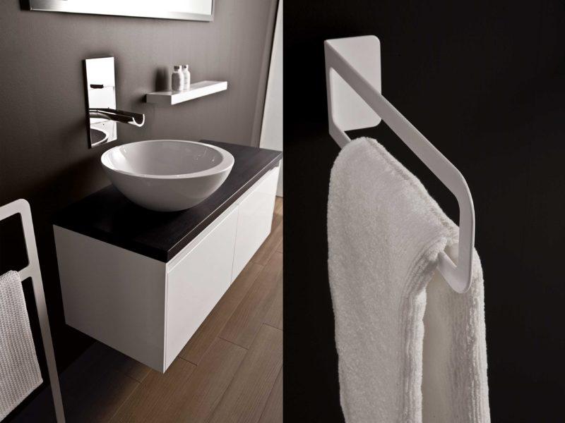 Sistema modulare mobili bagno con lavabo da appoggio rotondo, diametro 47 cm | Progetto Bagno