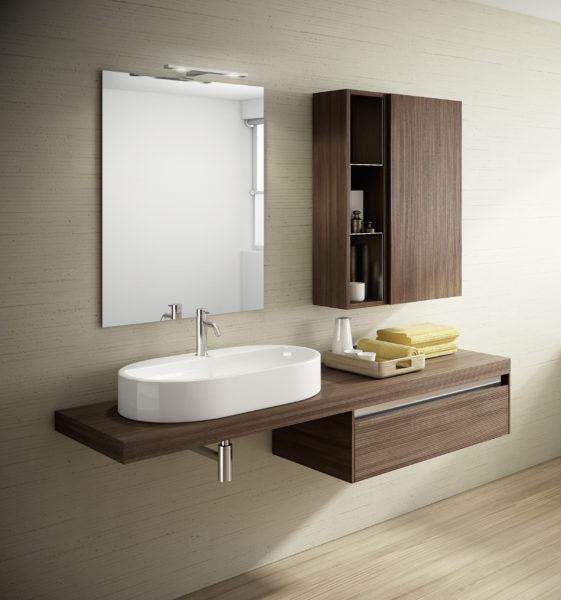 Ambiente bagno design moderno con top da 160cm e cassetto sospeso da 80 cm | Progetto Bagno