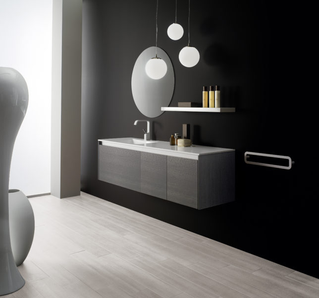 Mobile sospeso per bagno effetto rovere grigio con top in blanco | Progetto Bagno