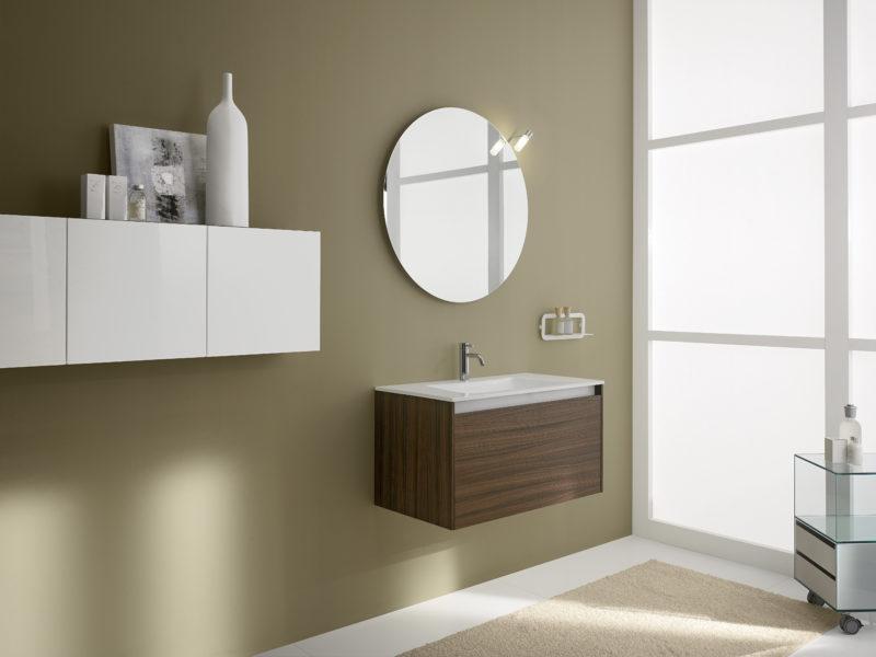 Mobile da bagno sospeso 82cm, altezza 44 cm color palissandro e lavello integrato in Blanco puro | Progetto Bagno
