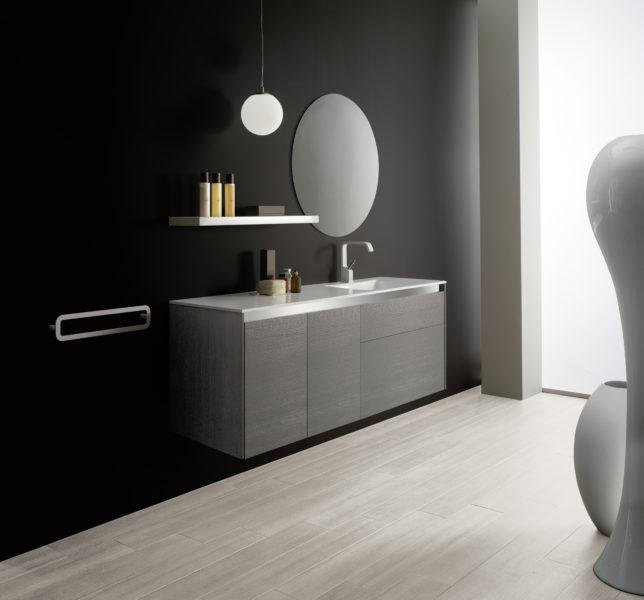 Mobile bagno sospeso grande capienza altezza 64 cm | Progetto Bagno
