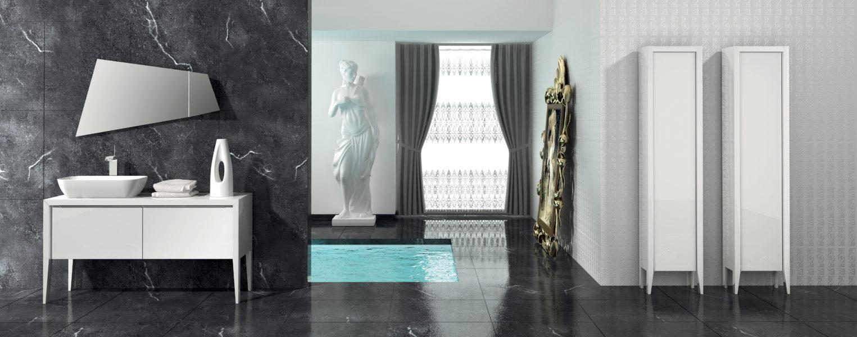 Arredo bagno design moderno con base mobile 135 cm laccata bianco lucido | Progetto Bagno