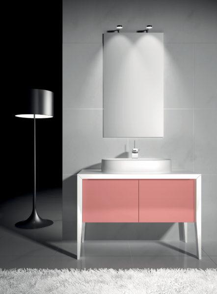 Mobile da bagno laccata bianco lucido e ante in cristallo 105 cm | Progetto Bagno