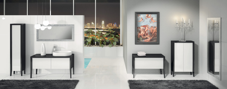 Composizione per bagno di design con base lavabo 135 cm ante in cristallo | Progetto Bagno