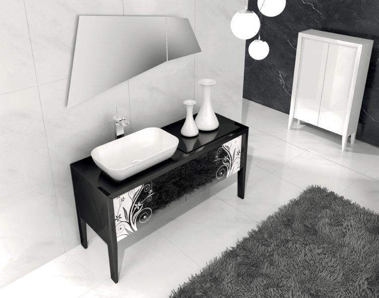 Composizione bagno di design con mobile 135 con gambe | Progetto Bagno