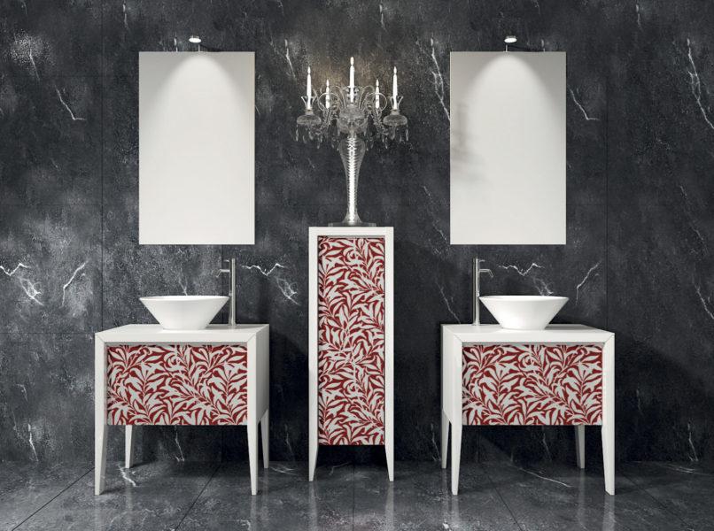Arredo bagno con basi lavabo 72 cm e ante in cristallo | Progetto Bagno