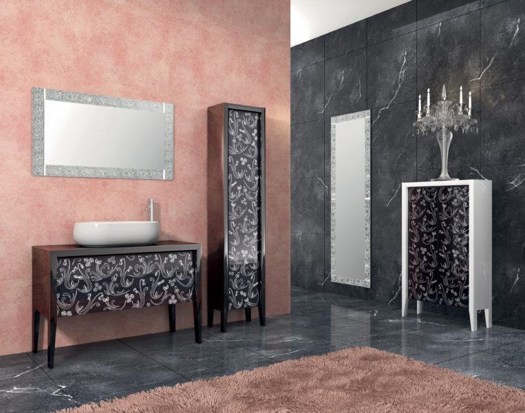 Set mobili da bagno con frontali incristallo nero | Progetto Bagno