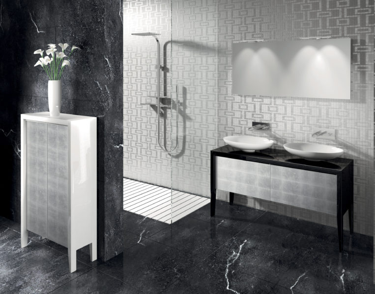 Arredo per stanza da bagno design elegante mobili con ante in cristallo | Progetto Bagno
