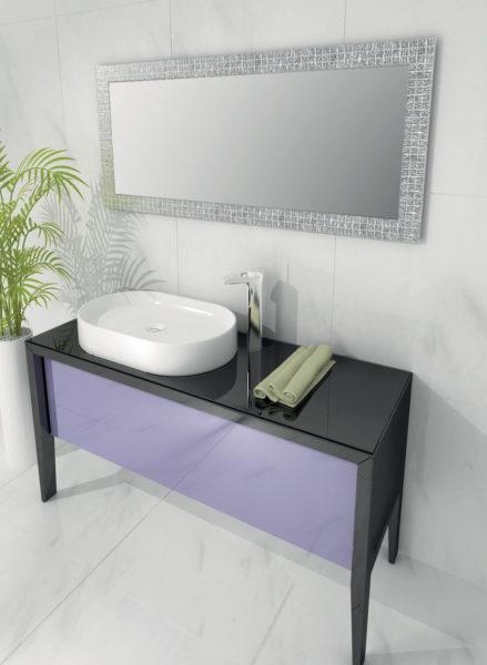 Base lavabo 135 cm per bagno con ante in cristallo | Progetto Bagno