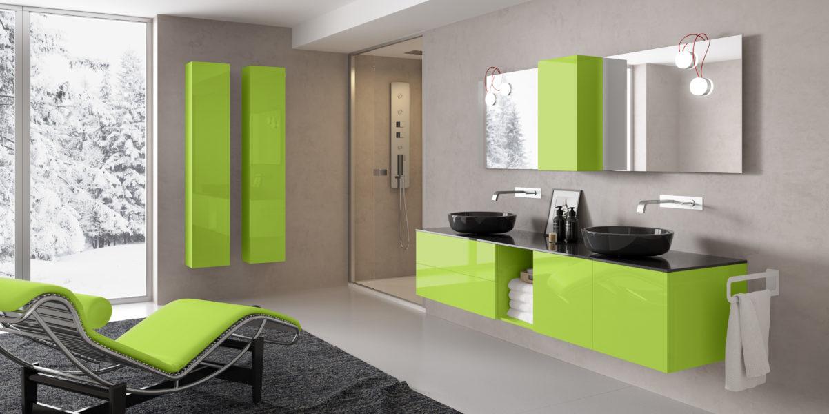 Arredo bagno con mobile sospeso 90cm laccato verde e doppio lavabo d'appoggio nero | Progetto Bagno