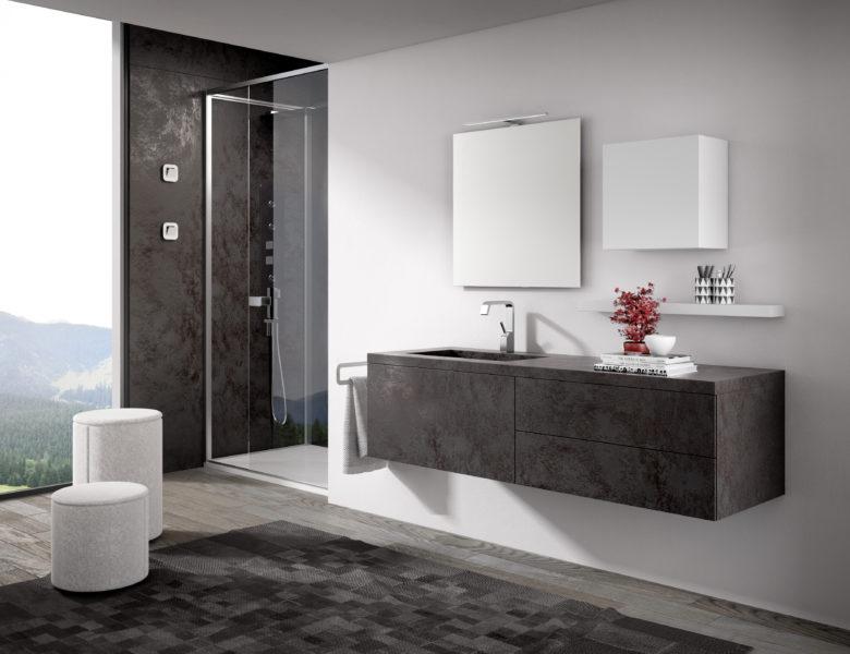 Mobile per bagno con vasca integrata e top in LAMNIAM - Progetto Bagno
