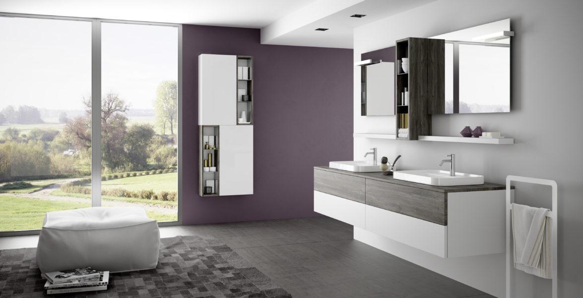 Mobili componibili per bagno di design 200cm e lavabo da appoggio in ceramica 60 cm | Progetto Bagno