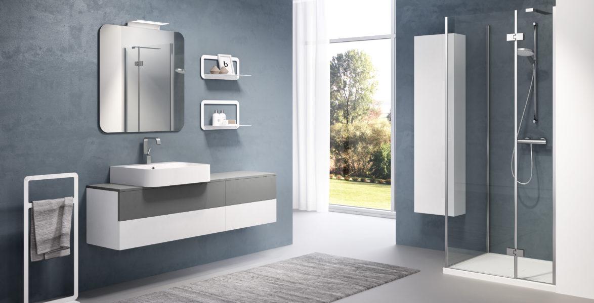 Arredo bagno essenziale con mobile sospeso profondità 40cm e lavabo da appoggio in ceramica | Progetto Bagno
