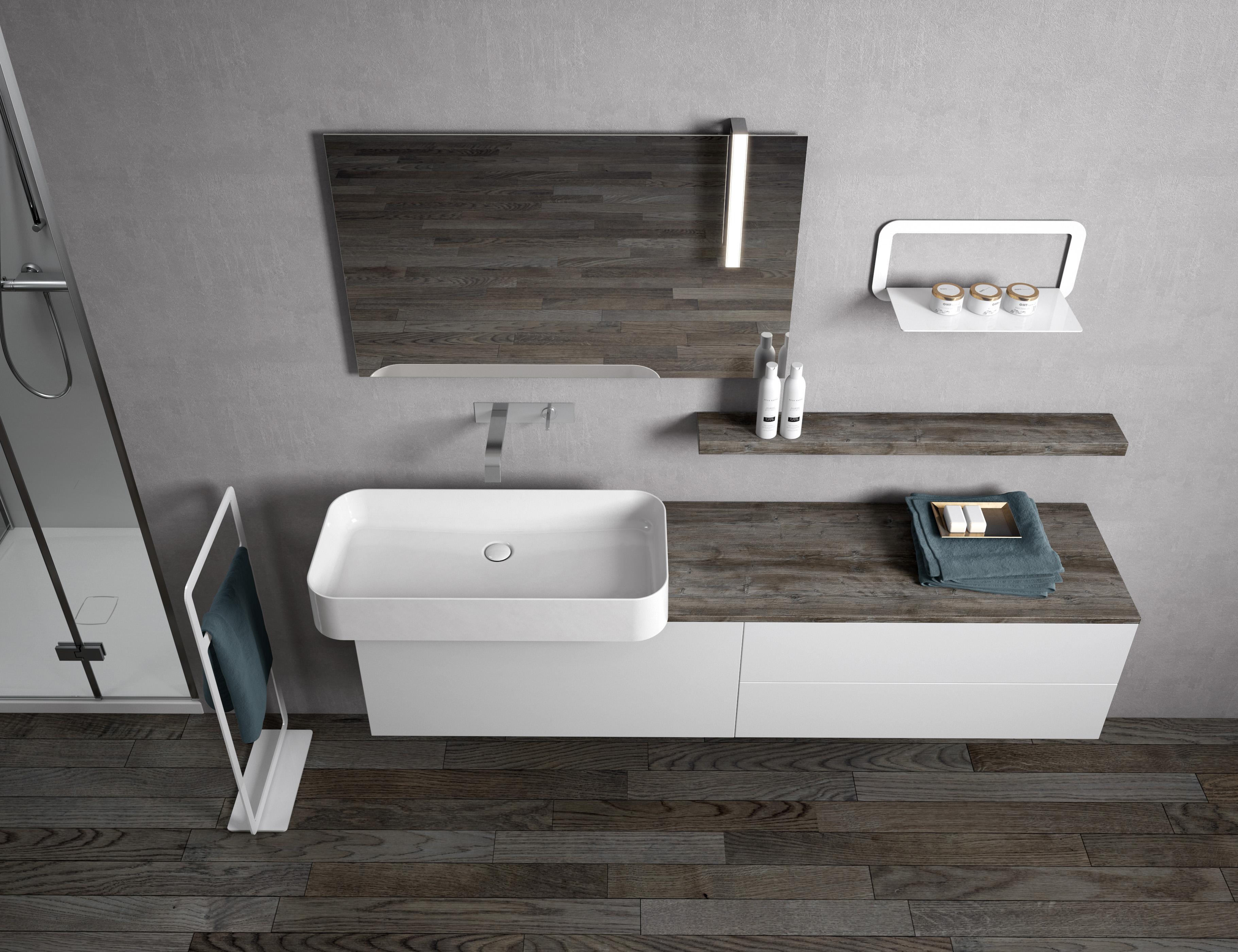 Mobile Da Bagno LOUNGE Dal Design Minimalista, Profondo Solo 40 Cm E Lavabo  In Ceramica SLIM 80 38 Montato In Sporgenza Su Due Lati.