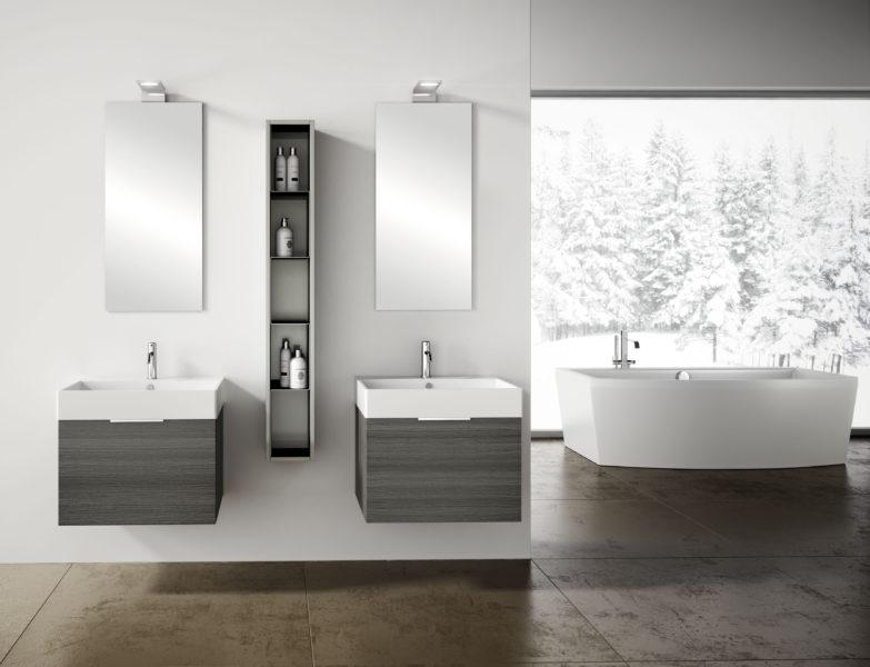 Mobili sospesi per bagno in rovere, altezza 40 cm design moderno | Progetto Bagno