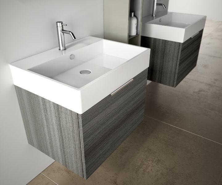 Lavabo d'appoggio con base in rovere grigio 60 x 45 cm | Progetto Bagno