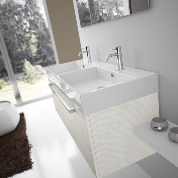 Lavabo d'appoggio in ceramica con due vasche su top da 120 x 45 cm | Progetto Bagno