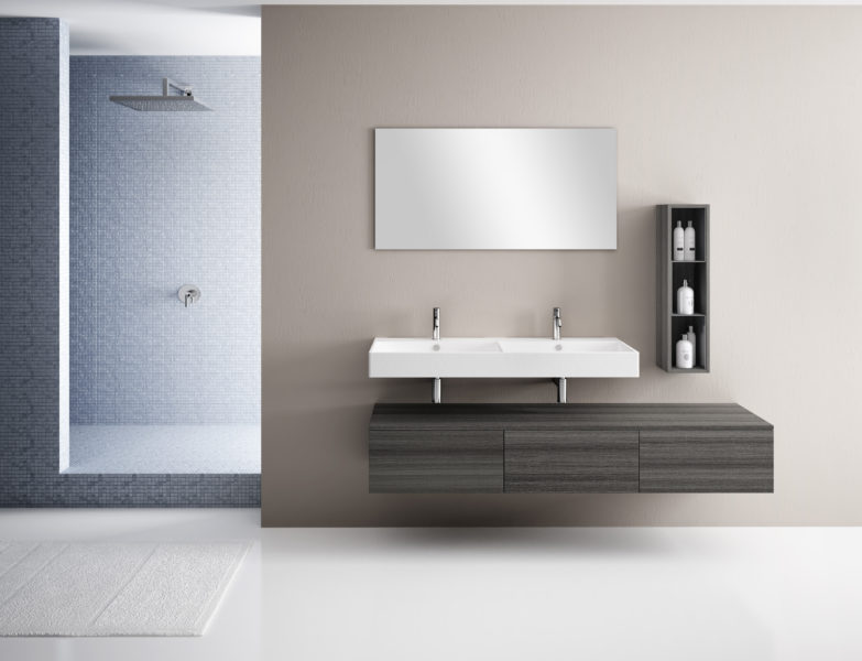 Soluzione di arredo bagno di lusso con top sospeso da 120 cm in ceramica e mobile da 180 cm | Progetto Bagno