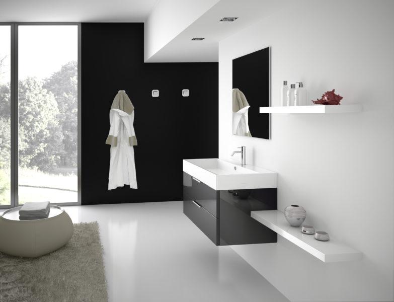 Arredo bagno con lavabo d'appoggio in ceramica 90cm e mobile sospeso con due cassetti | Progetto Bagno