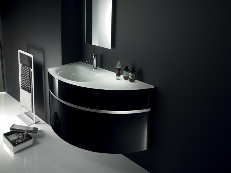 Mobile per bagno 105 cm con lavello in cristallo e frontale in nero lucido | Progetto Bagno