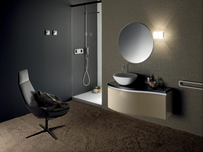 Mobile da bagno 100 cm con lavabo da appoggio in ceramica | Progetto Bagno