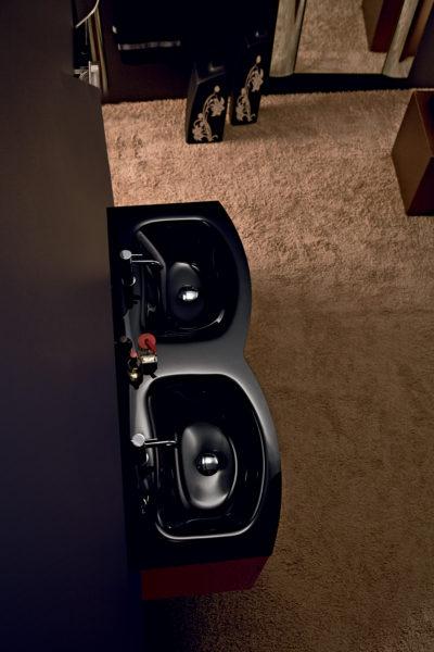 Mobile da bagno 130 cm top con doppia vasca in cristallo nero | Progetto Bagno