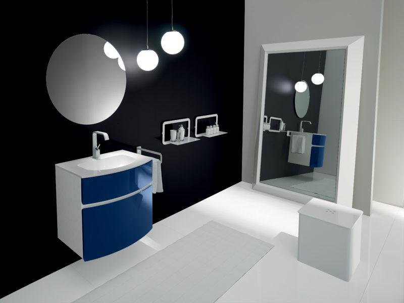Mobile da bagno 65 cm con frontale laccato blu lucido e lavello in bianco puro | Progetto Bagno