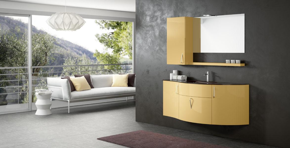 Composizione arredo bagno componibile 150 cm laccata color crema| Progetto Bagno