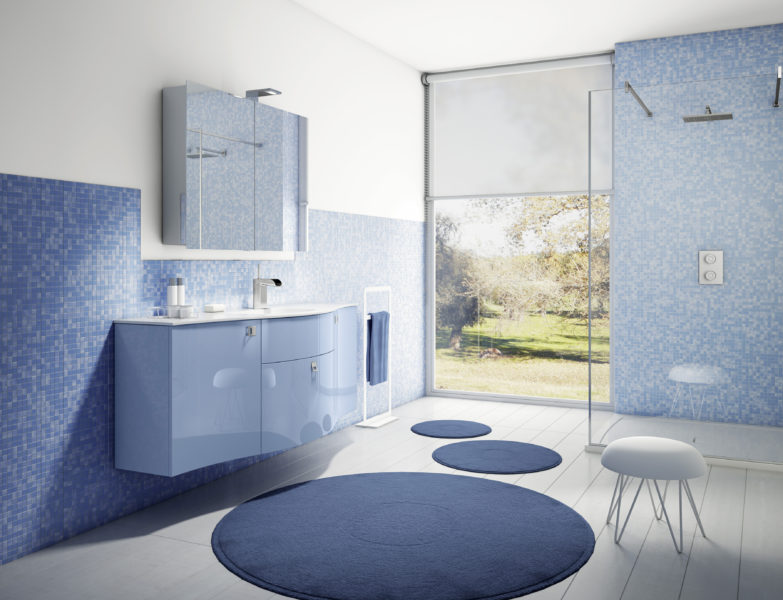 Arredo bagno con mobili laccati carta da zucchero e top in resina minerale 155 cm | Progetto Bagno