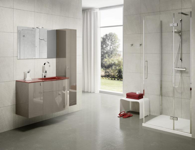 Soluzione di arredo bagno modulare con colonna alta 160 cm | Progetto Bagno