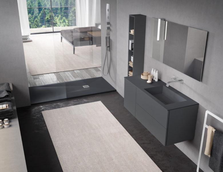 Mobili per bagno di design color ardesia ed elementi in STONE - Progetto Bagno