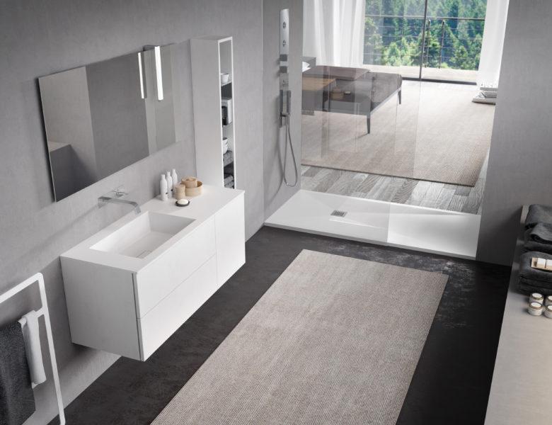 Set di mobili per bagni dal design moderno realizzati in STONE - Progetto Bagno