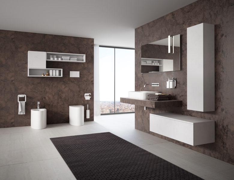 Soluzione di arredo bagno di design in LAMINAM Oxide Moro - Progetto Bagno