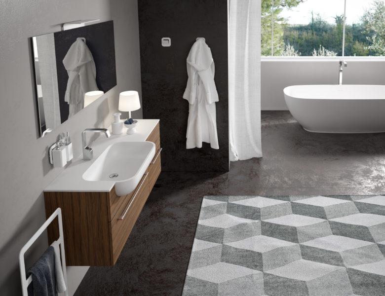Soluzione arredo bagno con mobile sospeso da 120 cm effetto palissandro | Progetto Bagno
