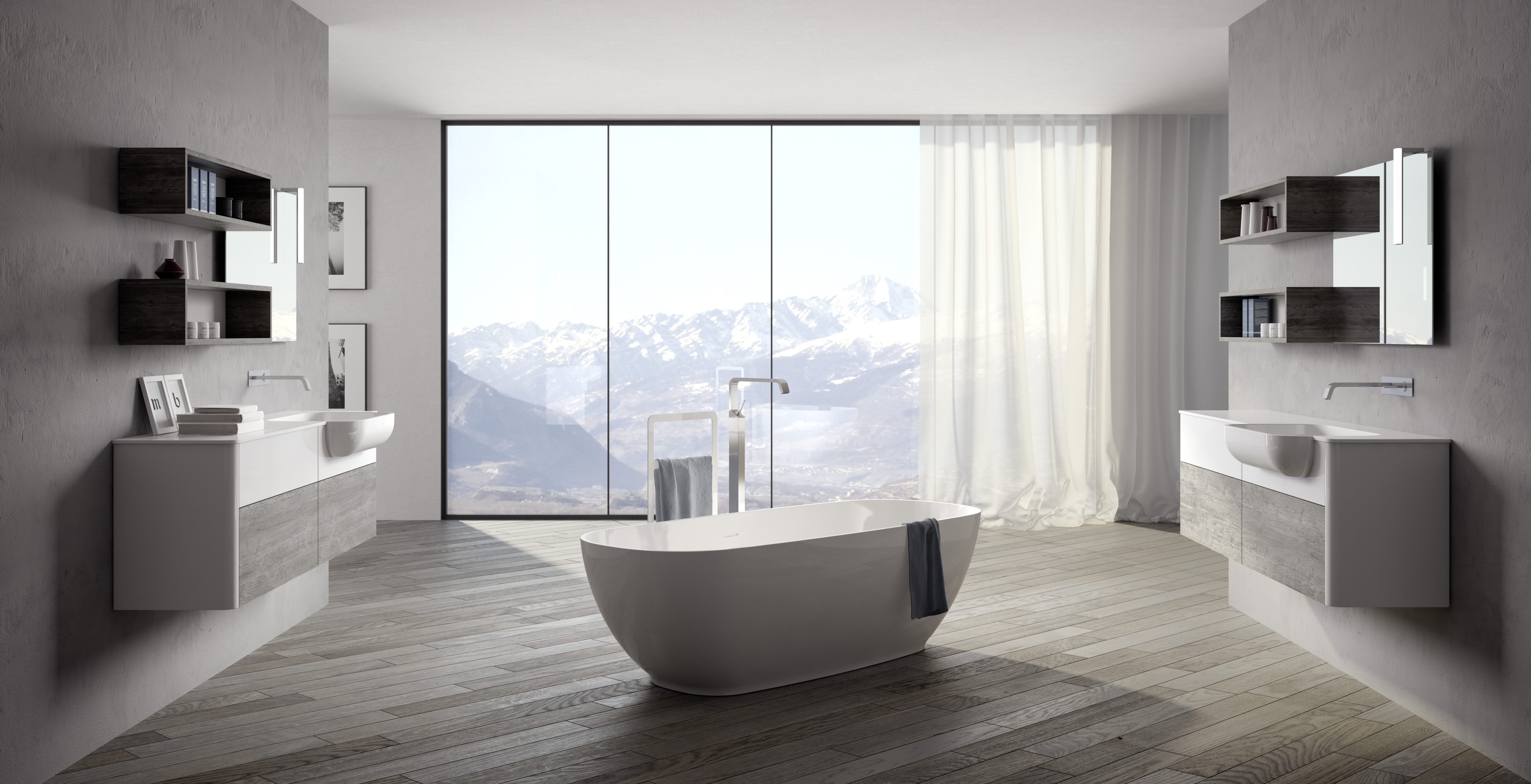 Wide And Panoramic Bath Room With Two ZEUS Furniture With Rounded Sides.  The Lack Of Handles Gives A Minimalist Design Style To The Environment.