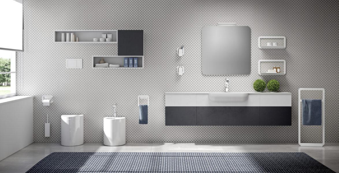Arredo bagno con top da 200cm e lavabo a semi-incasso | Progetto Bagno