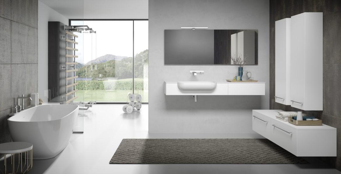 Soluzione di arredo bagno design minimal, con palestra e vasca free standing | Progetto Bagno