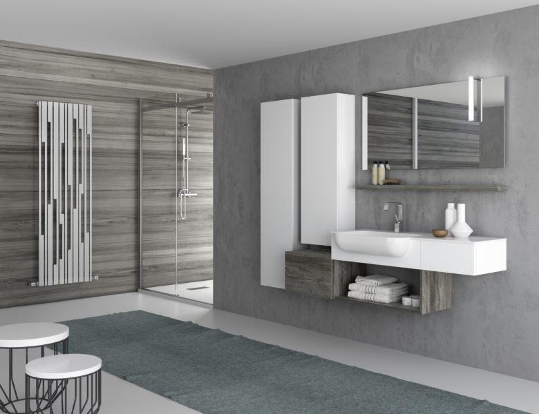 Ambientazione bagno dal design moderno, con lavabo a semi incasso - Progetto Bagno