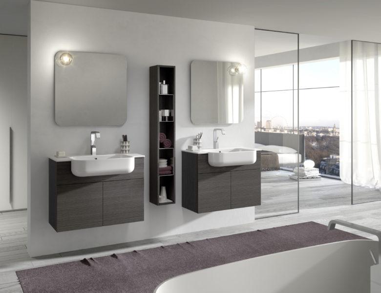 Set arredo bagno con doppio lavabo integrato da 80cm | Progetto Bagno