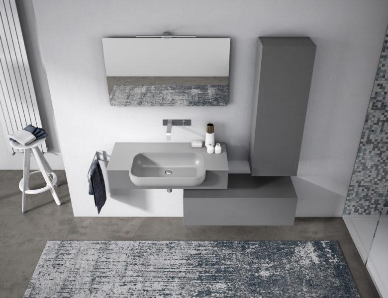 Mobili da bagno di design con pannelli in Plamky Grigio | Progetto Bagno