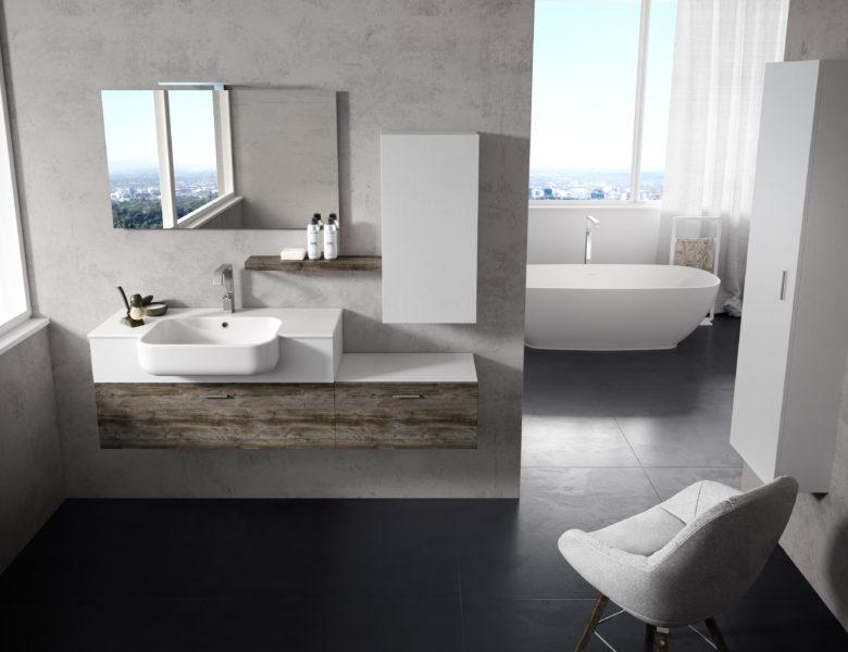 Composizione arredo bagno da 160 cm con lavello in ceramica da 101 cm | Progetto Bagno